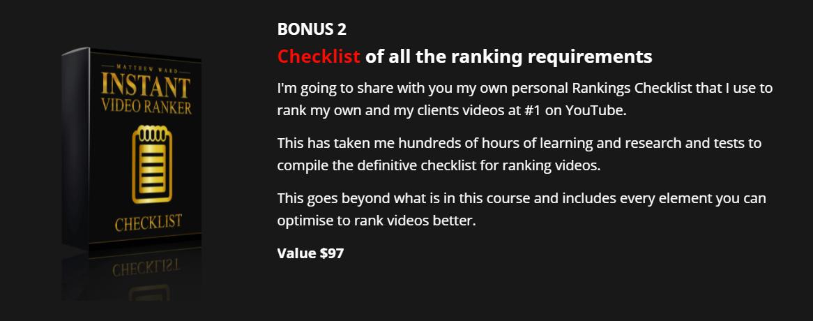 Instant Video Ranker Bonus 1